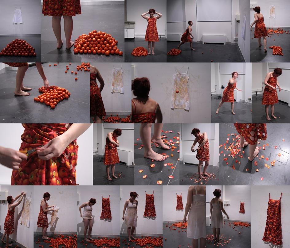 290 tomates print. 45 min. Performance- L´estruch. Fàbrica de Creació de les Arts en Viu. Sabadell, Barcelona 2010